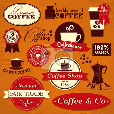 Weinlese-Kaffee-Labels und Design-Elemente