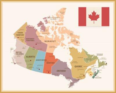 Sticker Weinlese-Karte von Kanada mit Markierungsfahne