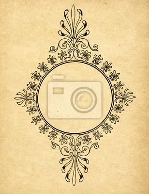 Weinlese-Kreis-Rahmen auf dem alten Papier mit Kopie Raum