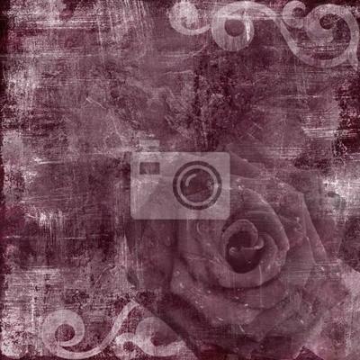 Weinlese mit Blumen Grunge Scrapbook Hintergrund mit rose