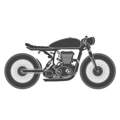 Sticker Weinlese-Motorrad. Cafe racer theme