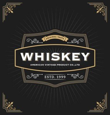 Sticker Weinlese-Rahmenentwurf für Aufkleber, Fahne, Logo, Emblem, Menü, Aufkleber und anderer Entwurf. Geeignet für Whisky, Bier, Coffee-Shop, Hotel, Resort, Schmuck und Premium-Produkt. Alle Art verwenden f