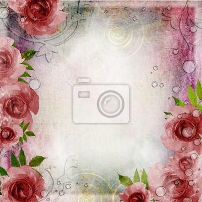 Weinlese- rosa und grünem Hintergrund mit Rosen ( 1 Satz)