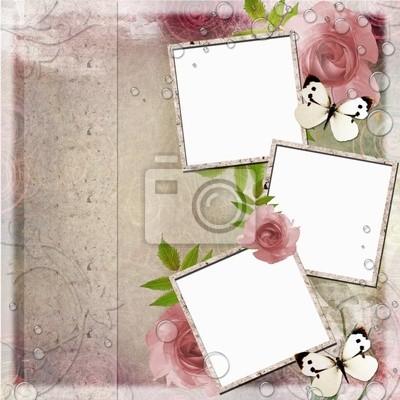 Weinlese-rosa und grünen Hintergrund mit Frames und Rosen (1 von