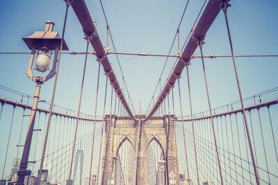 Sticker Weinlese tonte Abbildung der Brooklyn-Brücke, NYC.