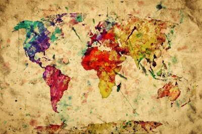 Sticker Weinlese-Weltkarte. Bunte Farben, Aquarell auf Papier Grunge