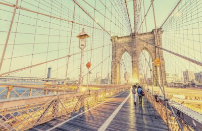 Sticker Weinlesefoto der Brooklyn-Brücke in New York City