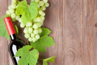 Sticker Weintraube und Rotweinflasche