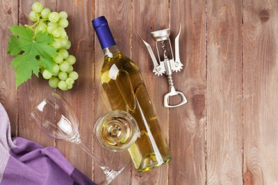 Sticker Weintraube, Weißwein und Korkenzieher
