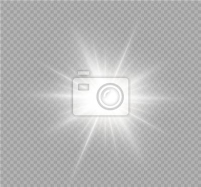 Sticker Weiß funkelt Glitzer spezieller Lichteffekt. Vektor funkelt auf transparentem Hintergrund. Weihnachten abstraktes Muster. Funkelnde magische Staubpartikel.