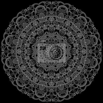 Weiß ornamentale runden Muster. Lace Hintergrund