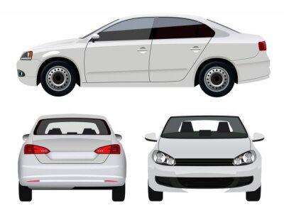 Sticker Weiß Vehicle - Sedan Car von drei Seiten