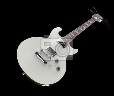 Weiße e-gitarre auf schwarzem hintergrund notebook-sticker ...