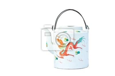 weiße Farbe Teekanne mit Drachen-Design