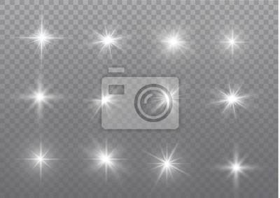 Sticker Weiße Funken glitzern als besonderer Lichteffekt.  Vektor funkelt auf transparentem Hintergrund.  Abstraktes Weihnachtsmuster.  Funkelnde magische Staubpartikel.