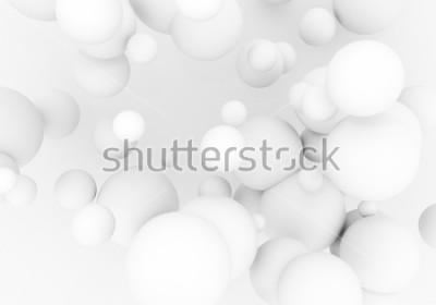 Sticker Weiße Perlen fliegen in den Weltraum. Matte Kugeln der Kugel 3d fallen - übertragen Sie Abbildung. Abstrakter modischer stilvoller Tapetenhintergrund