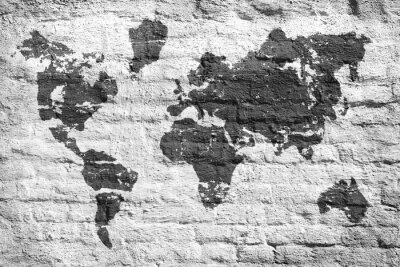 Sticker Weiße Wand und eine Bildkarte der Welt