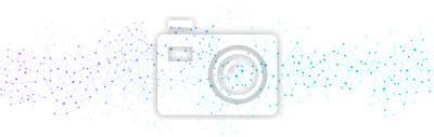 Sticker Weißes globales Kommunikationsbanner mit buntem Netzwerk.