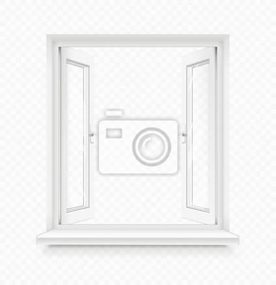 Sticker Weißes klassisches offenes Kunststofffenster mit Fensterbank.  Transparent