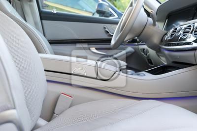 Weißes leder interieur der luxus modernen auto. notebook-sticker ...