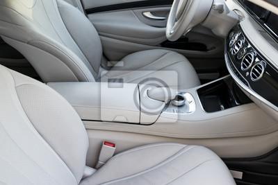Weißes leder interieur der luxus modernen auto. leder bequeme ...