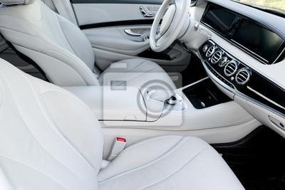 Interieur auto  Weißes leder interieur der luxus modernen auto. leder bequeme ...