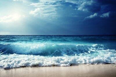 Sticker Wellen auf Seychellen Strand
