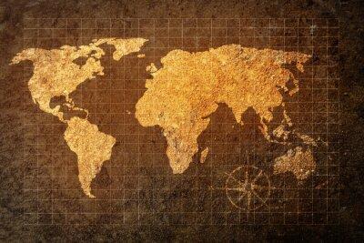 Sticker Weltkarte auf grunge Hintergrund