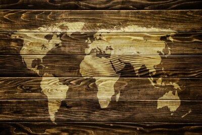 Sticker Weltkarte auf Holz Hintergrund