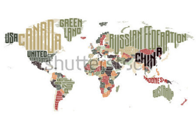 Sticker Weltkarte aus typografischen Ländernamen. Vektor-illustration