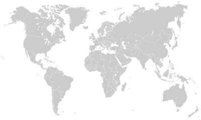Sticker Weltkarte - Hellgrau (hoher Detailgrad)