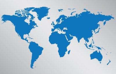 Sticker Weltkarte Illustration auf grauem Hintergrund