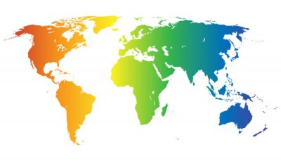 Sticker Weltkarte in Regenbogenfarben - Vektor
