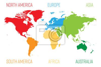 Sticker Weltkarte in sechs Kontinente unterteilt. Jeder Kontinent in anderer Farbe. Einfache flache Vektor-Illustration.