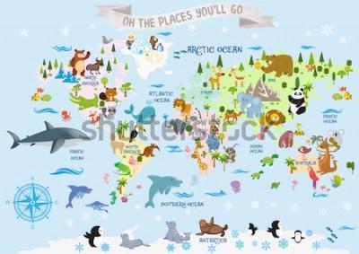 Sticker Weltkarte mit Tieren / Oh, die Orte, an die du gehen wirst