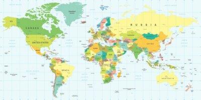 Sticker Weltkarte - sehr detaillierte Vektor-Illustration.