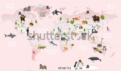 Sticker Weltkarte Tiere für Kinderzimmer Tapete