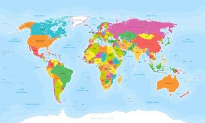 Sticker Weltkarte Vektor. Englisch / US-Etiketten