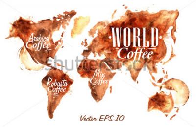 Sticker Weltkarte von gezogenem Kaffee mit der Aufschrift Arabica, Robusta, Mix mit Spritzern und Blots druckt Tasse.
