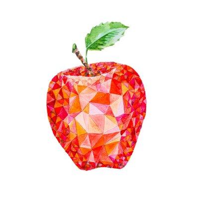 Sticker Wenig Poly Aquarell Apfel