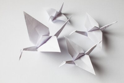 Sticker White crane handmade