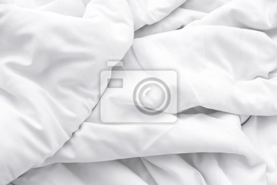 Sticker White delicate soft background of fabric or bedding sheet
