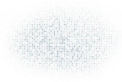 Sticker white digital matrix of binary code numbers background