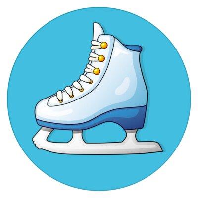 Sticker White Eis skate auf einem blauen Hintergrund, runde Symbol.
