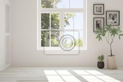 Sticker White empty room with summer landscape in window. Scandinavian interior design. 3D illustration