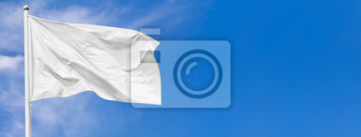 Sticker White flag waving in the wind on flagpole against the sky with clouds on sunny day, banner, closeup