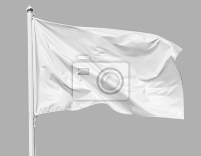 Sticker White flag waving in the wind on flagpole, isolated on gray background, closeup