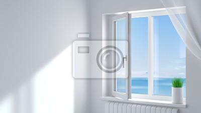Sticker White plastic window in the room