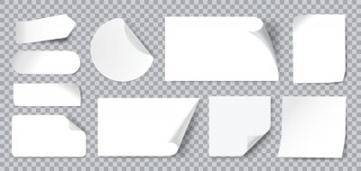 Sticker White stickers. Blank adhesive sticker with folded or curled corners. Realistic paper sticky notes in various shapes vector mockup as circle, rectangle, square clean tags or badges