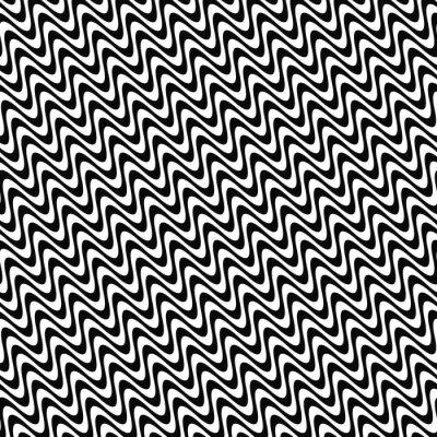 Sticker Wiederholen Schwarz-Weiß-Wellenmuster